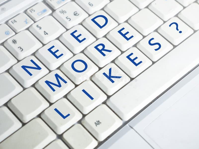 需要更多喜欢,诱导互联网社会媒介词行情 免版税图库摄影