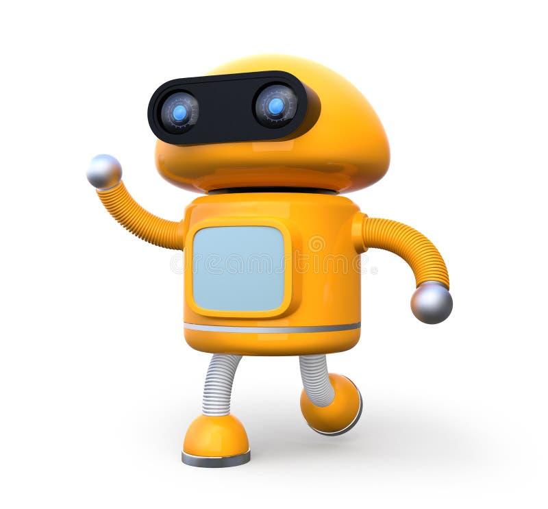 震动他的在白色背景的逗人喜爱的橙色机器人右手 皇族释放例证