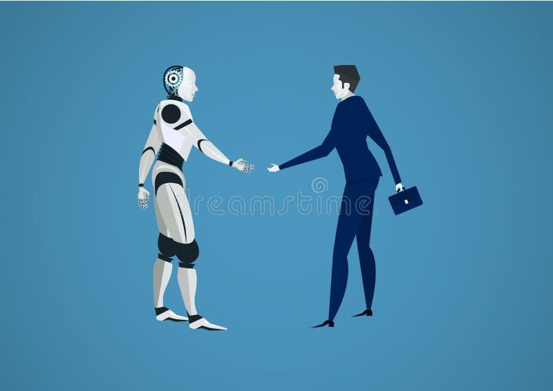 震动机器人的商人为投资递 人对机器人未来派背景 ?? 库存例证