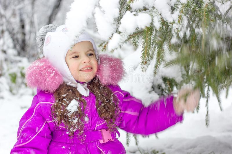 震动杉树的分支小女孩报道由雪 库存图片