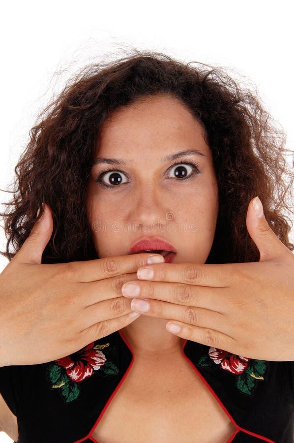 震惊妇女与移交嘴 库存图片