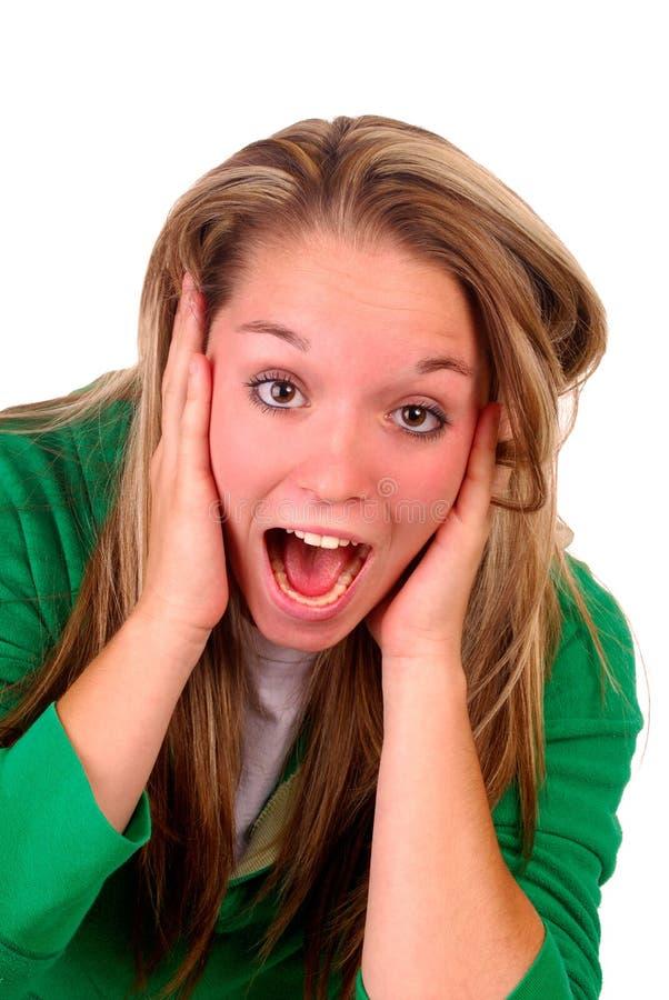 震惊妇女年轻人 免版税图库摄影