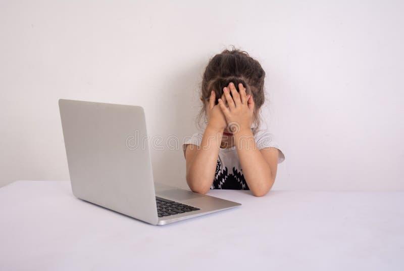 震惊的内容 学龄前有震惊面孔的女孩冲浪的互联网 女孩使表示震惊并且接触她的头 图库摄影