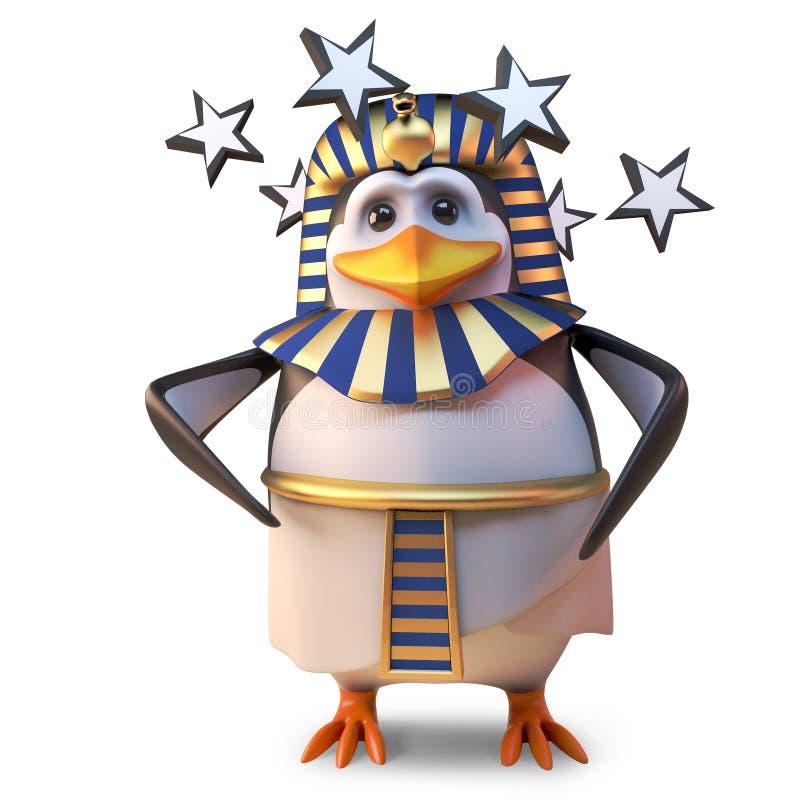 震惊的古老法老王企鹅Tutankhamun是头昏眼花和震惊与转动的星,3d例证 库存例证