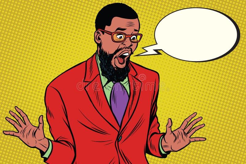 震惊行家有胡子的非裔美国人的商人说可笑 向量例证