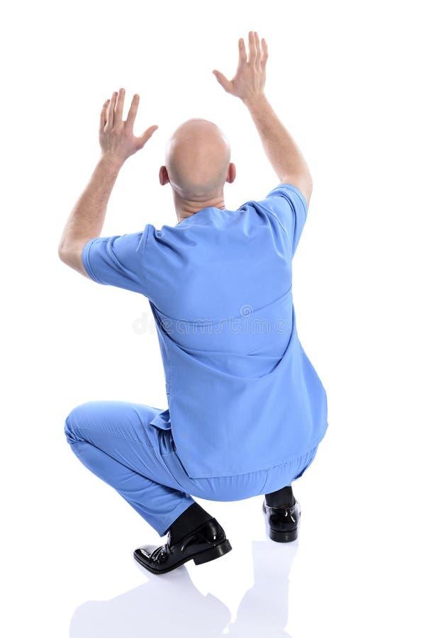 震惊,惊奇的护士人 库存图片