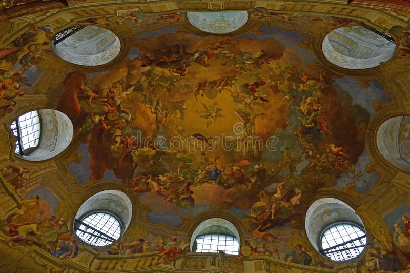 霍夫堡宫国立图书馆天花板细节维也纳 库存图片
