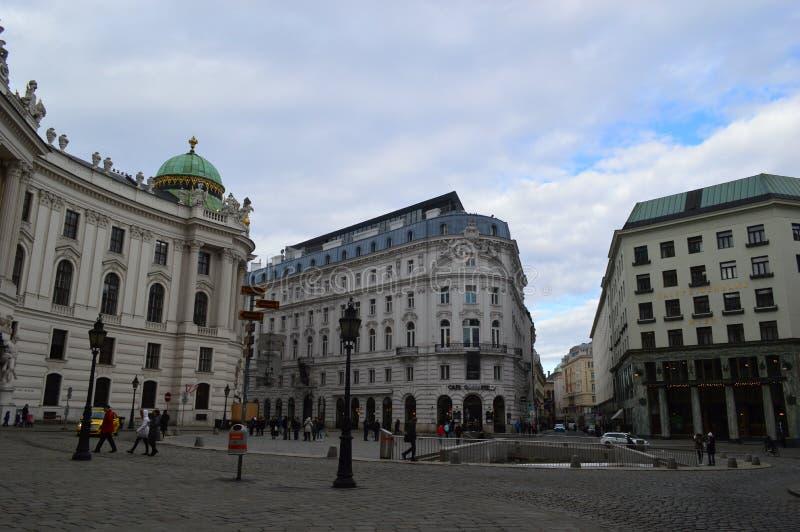 霍夫堡宫St Michaels Sqaure维也纳 免版税库存照片