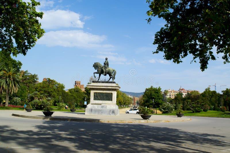 霍安Prim将军雕象在巴塞罗那 免版税图库摄影
