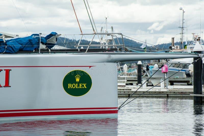 霍巴特,澳大利亚- 2012年12月28日:野燕麦XI 11破纪录的胜利在霍巴特游艇况赛的-科技目前进步水平悉尼 免版税库存图片