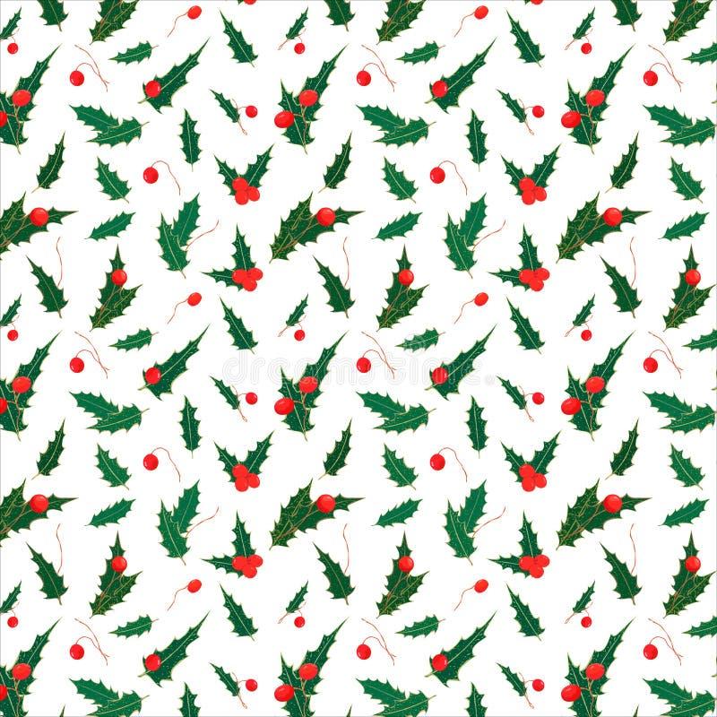 霍莉叶子和莓果的无缝的圣诞节样式 绿色叶子和红色莓果的新年的花卉样式在白色 向量例证