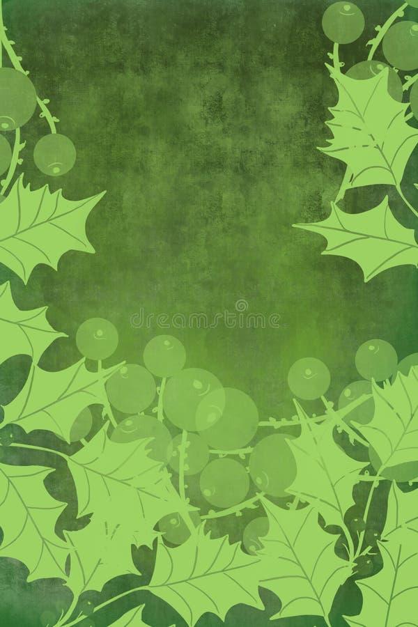 霍莉叶子莓果和在与开放中心的绿色背景边界花圈边界文本 皇族释放例证