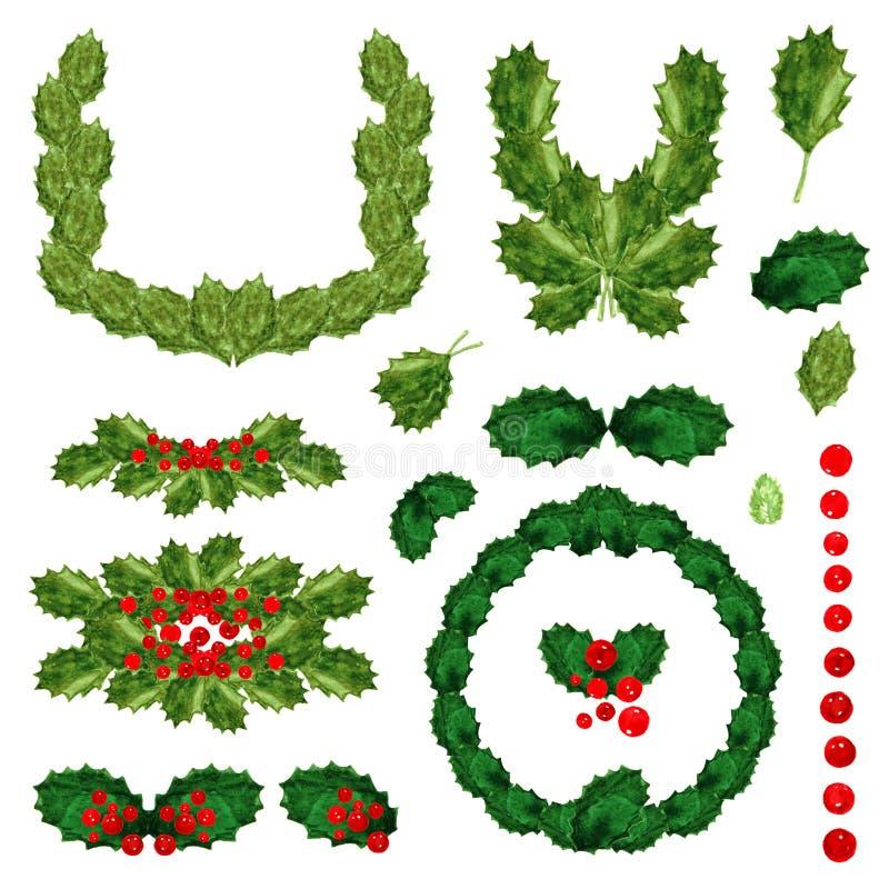 霍莉绿色叶子和明亮地遏制圣诞节新年项目被设置的孤立红色莓果花圈构成水彩图画  库存例证
