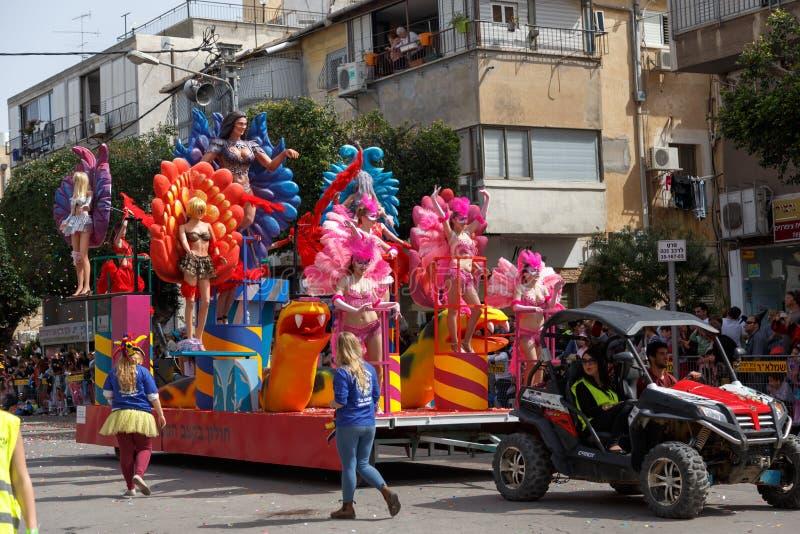 霍隆Adloyada。普珥节狂欢节。以色列 库存照片