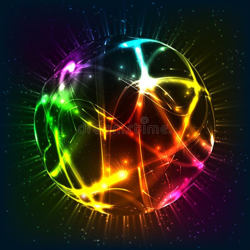 霓虹光亮的传染媒介球形 皇族释放例证