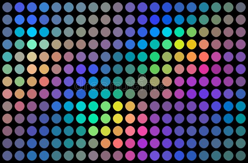 霓虹光谱全息图马赛克背景 欢乐彩虹装饰 蓝绿色丁香桃红色黄色梯度小点 向量例证