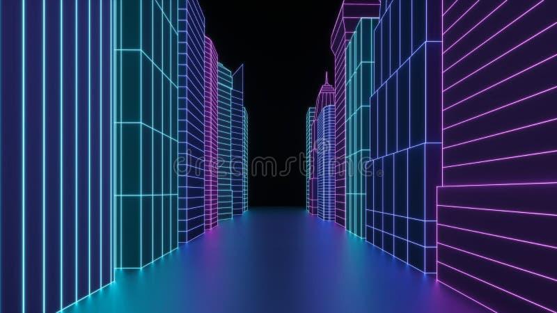 霓虹全息图城市摩天大楼 未来派回报3d在霓虹灯的城市街道 在网络世界的数字式都市风景 免版税库存照片