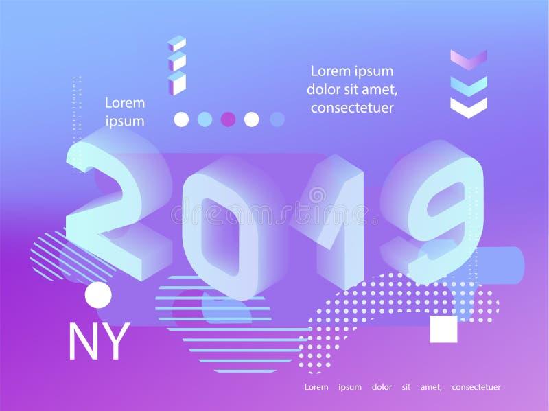 2019霓虹全息照相的孟菲斯样式 与2019个数字的横幅 例证新的向量年 库存例证