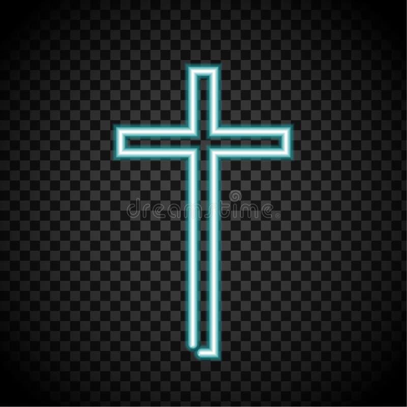 霓虹十字架,发光发怒,宗教,基督教,耶稣横渡 皇族释放例证