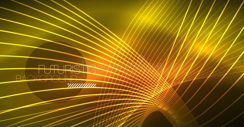 霓虹发光的不可思议的背景,霓虹横幅,夜空墙纸 不可思议的光线影响 圣诞节抽象样式 库存例证