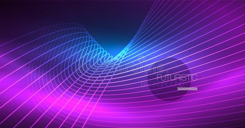 霓虹发光的不可思议的背景,霓虹横幅,夜空墙纸 不可思议的光线影响 圣诞节抽象样式 向量例证