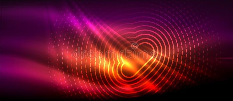 霓虹發光的波浪,不可思議的能量和光行動背景 墻紙模板,高科技未來圖片