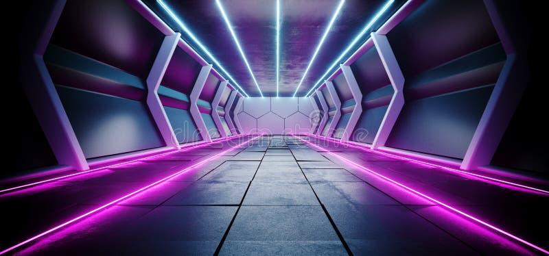 霓虹发光的线有具体白色发光的地板空的空间的科学幻想小说未来派黑暗的外籍人船空间隧道走廊文本的 皇族释放例证