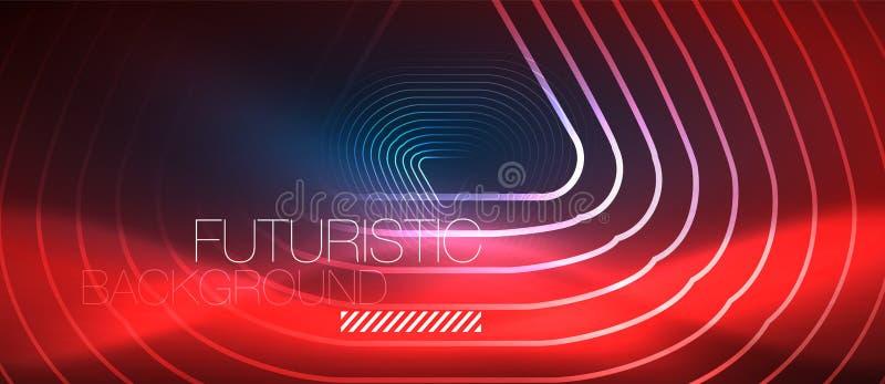 霓虹发光的techno线,与几何形状的高科技未来派抽象背景模板 库存例证