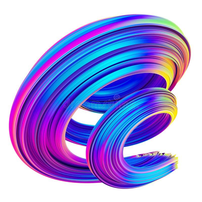 霓虹和全息照相的色的3d扭转的形状 向量例证