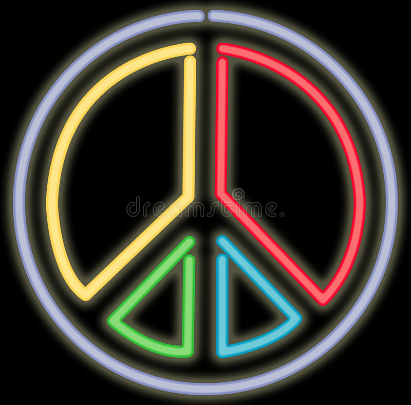 霓虹和平标志 向量例证