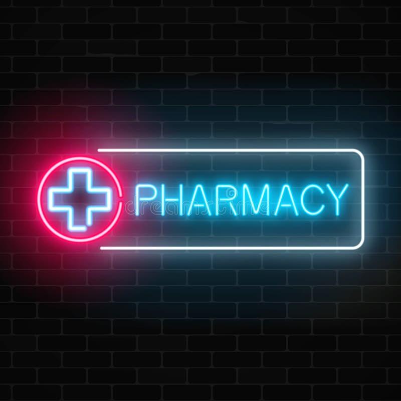 霓虹在砖墙背景的药房发光的牌 被阐明的药房标志打开24个小时 向量例证