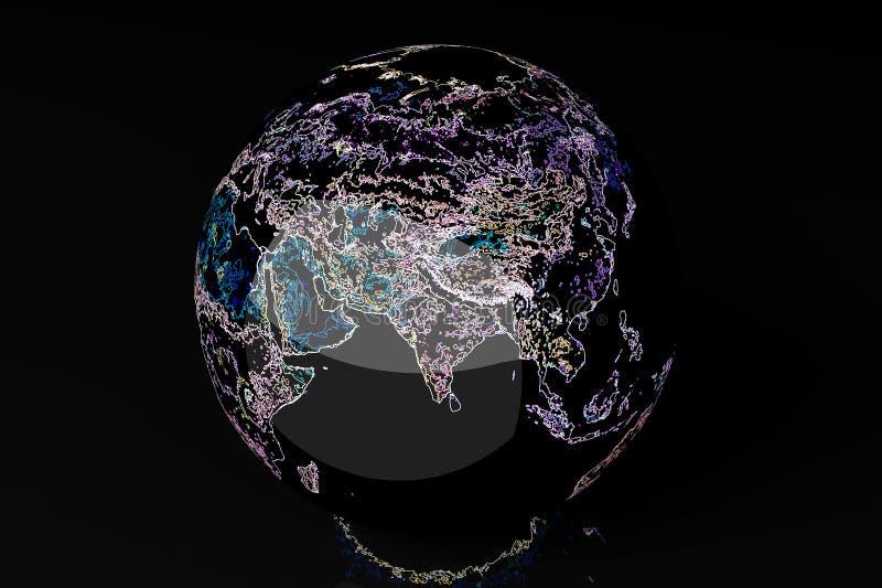 霓虹地球-亚洲 库存例证