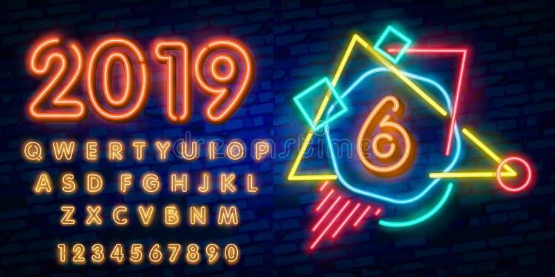 霓虹城市字体标志第6,牌六 第六模板霓虹象,轻的横幅,霓虹牌,每夜的明亮的advertisi 免版税图库摄影