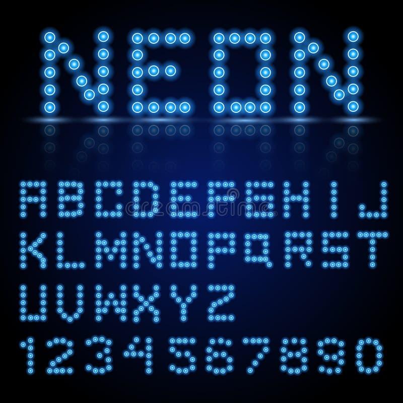 霓虹城市颜色蓝色字体 英语字母表和数字标志 库存例证