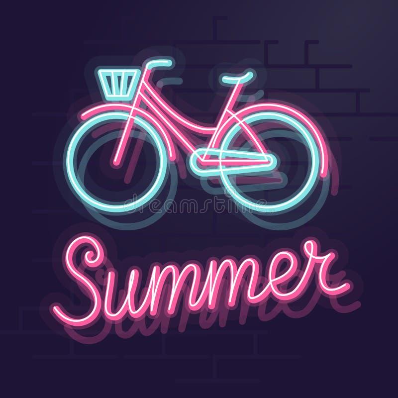 霓虹夏天自行车 夜被阐明的华尔街标志 在砖墙背景的被隔绝的几何样式例证 免版税库存照片