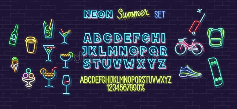 霓虹夏天象和在砖墙背景隔绝的字体集合 对商标,海报,横幅 标题和小字母 库存图片