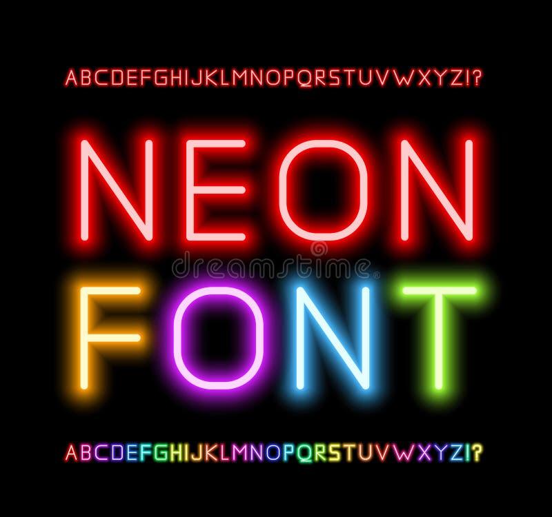 霓虹字体 向量例证