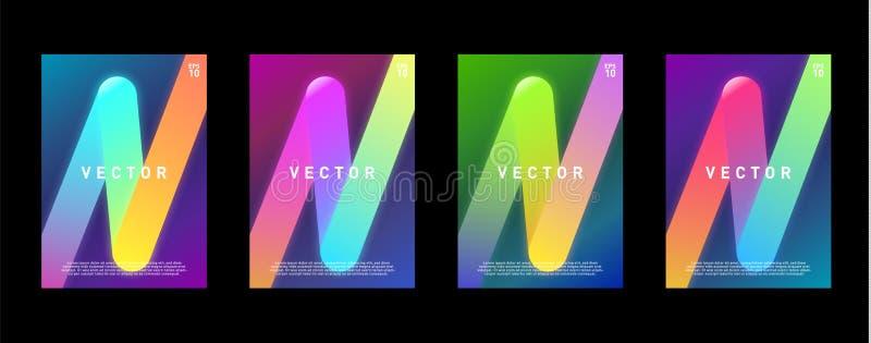 霓虹小册子的,盖子,海报,飞行物焕发五颜六色的设计模板 10 eps 皇族释放例证