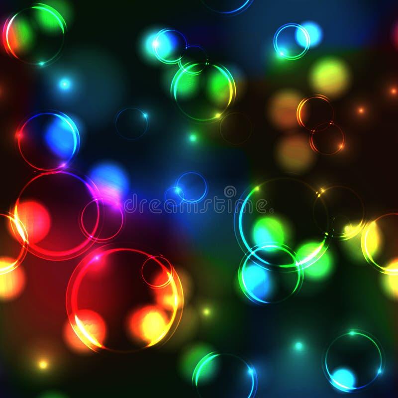 霓虹彩虹bokeh作用无缝的样式 向量例证