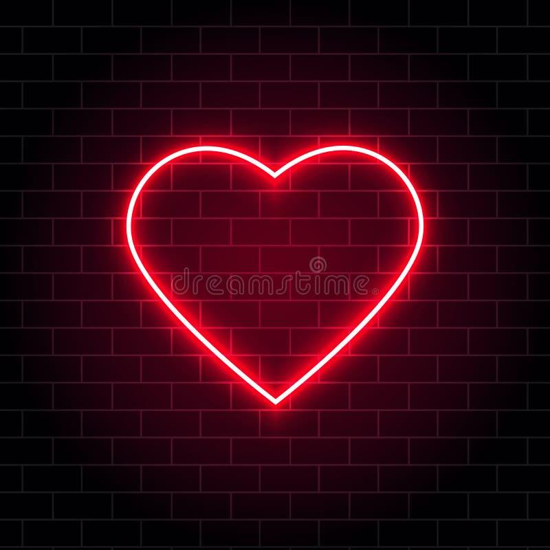 霓虹心脏 明亮的在砖墙背景的夜霓虹牌与背后照明 减速火箭的红色霓虹心脏标志 浪漫设计为 库存例证