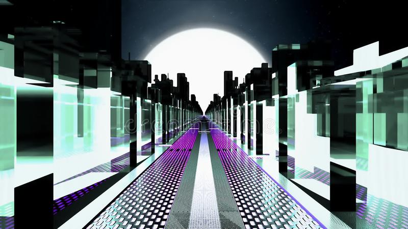 霓虹摩天大楼科学幻想小说城市 库存例证