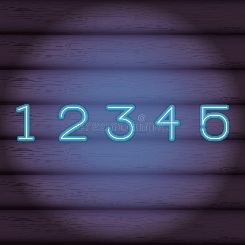 霓虹数字的字体 库存例证
