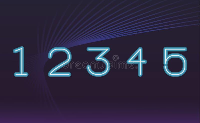 霓虹数字的字体 皇族释放例证