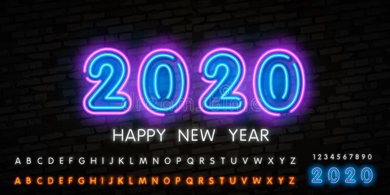 霓虹新年快乐2020年 与发光的霓虹灯的技术摘要在地球技术数字事务利用 皇族释放例证