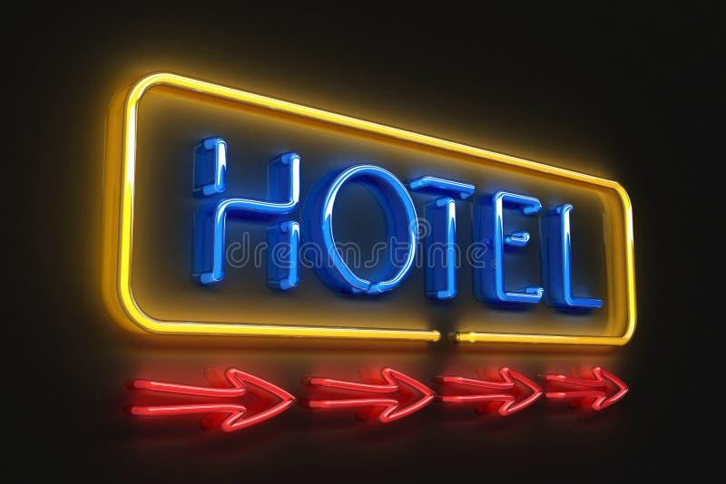 霓虹旅馆符号 库存例证