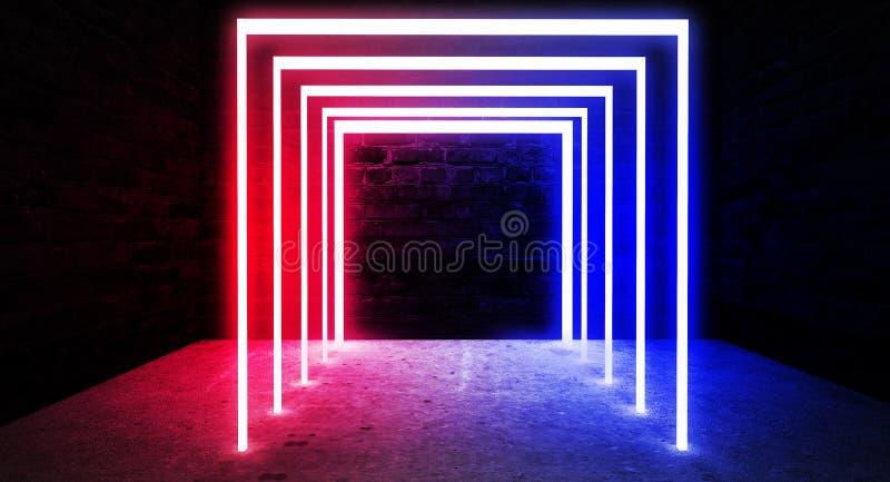 霓虹曲拱在一间黑暗的空的屋子 烟,霓虹灯 3d翻译 库存例证