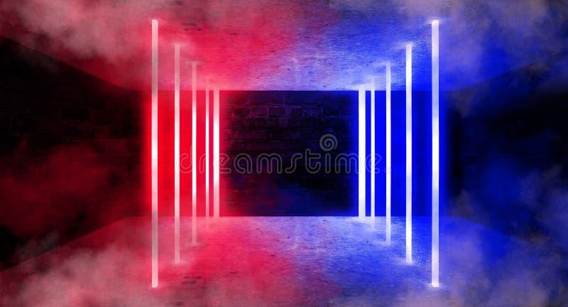 霓虹曲拱在一间黑暗的空的屋子 烟,霓虹灯 3d翻译 向量例证