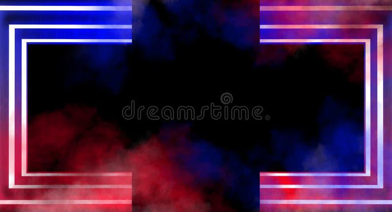 霓虹曲拱在一间黑暗的空的屋子 烟,霓虹灯 3d翻译 皇族释放例证