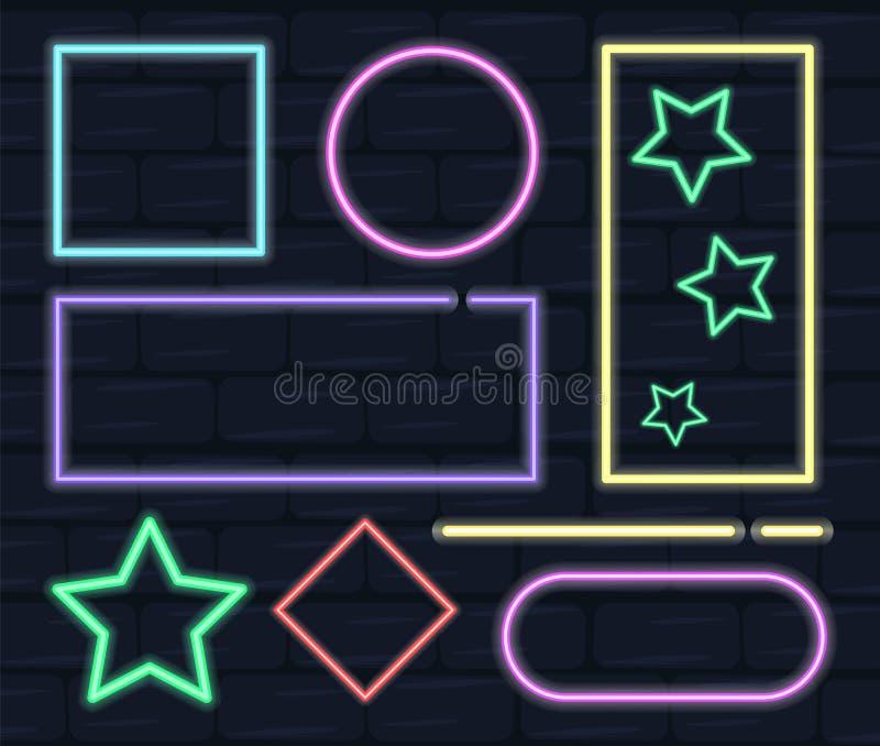 霓虹框架,不同的形状的汇集 电装饰 向量例证