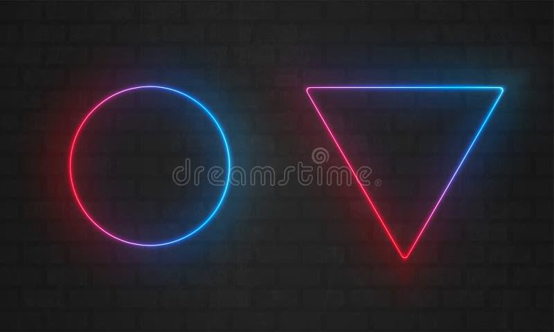 霓虹框架 传染媒介线电灯泡,三角,圈子霓虹框架边界 库存例证